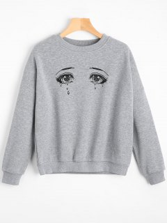 Drop Shoulder Crying Eyes Graphic Sweatshirt - Gray S