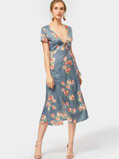 Plunging Neck Slit Flower Dress - Blue Gray M