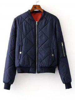 Zip Up Padded Bomber Jacket - Purplish Blue S