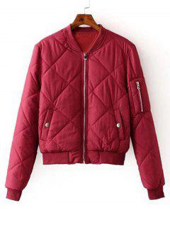 Zip Up Padded Bomber Jacket - Red S