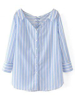 Lace-up Oversized Striped Shirt - Blue And White M