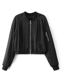 Cropped Zippered Sleeve Zip Up Pilot Jacket - Black S