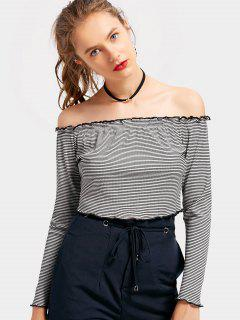 Off The Shoulder Striped Crop Top - Black M