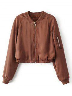 Cropped Zippered Sleeve Zip Up Pilot Jacket - Brown L