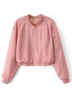 Cropped Zippered Sleeve Zip Up Pilot Jacket - Pink L