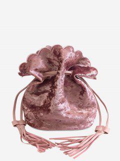 Tassel Scallop Drawstring Crossbody Bag - Pink