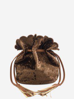 Tassel Scallop Drawstring Crossbody Bag - Brown
