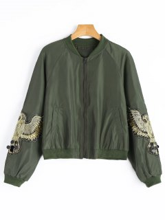 Beaded Sequined Applique Bomber Jacket - Army Green M
