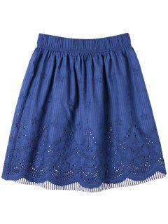 Embroidery Openwork Scalloped Edge Skirt - Blue L