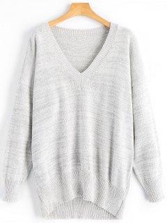 V Neck Oversized Sweater - Gray