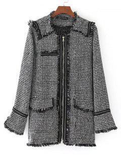Zip Up Fringed Checked Coat - White And Black L