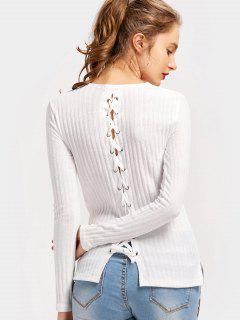 Back Lace Up Side Slit Knitted Top - White S