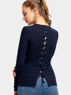 Back Lace Up Side Slit Knitted Top - Purplish Blue S