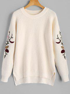 High Low Embroidered Sleeve Sweater - White