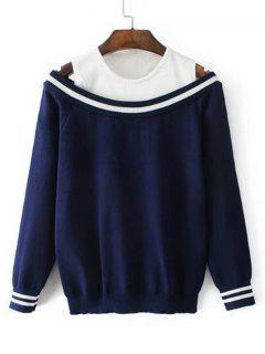 Pullover Mit Zwei Farben Und Kalter Schulter  - Schwarzblau
