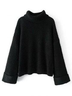 Curled Sleeve Oversized Turtleneck Sweater - Black