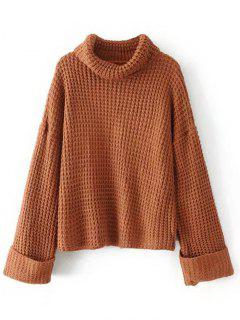 Curled Sleeve Oversized Turtleneck Sweater - Light Coffee