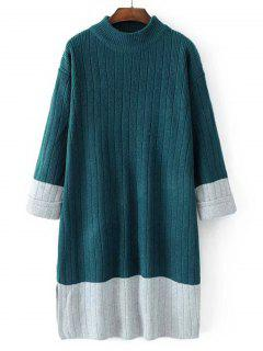 Longline Oversized Two Tone Sweater - Blackish Green