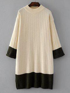 Longline Oversized Two Tone Sweater - Off-white