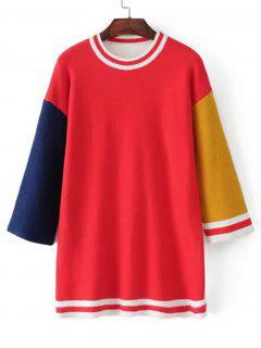 Longline Color Block Stripes Panel Sweater - Red