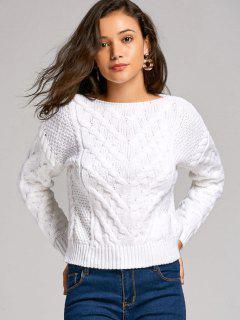 Slash Neck Chunky Sweater - White M
