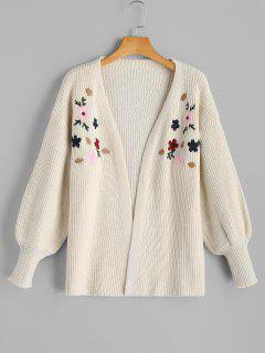 Lantern Sleeve Floral Embroidered Open Front Cardigan - White