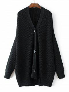 Side Slit Button Up V Neck Cardigan - Black L