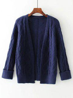 Curled Sleeve Cable Knit Open Front Cardigan - Purplish Blue