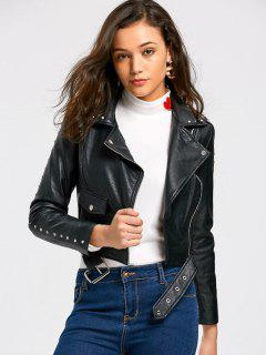 Rivet Biker Jacket - Black 2xl