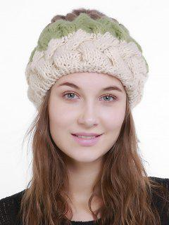 Outdoor Crochet Pom Knit Beanie - White And Green