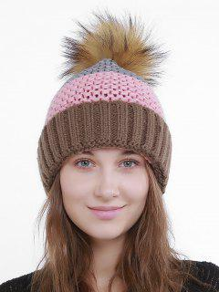 Outdoor Crochet Flanging Pom Knit Beanie - Pink And Coffee