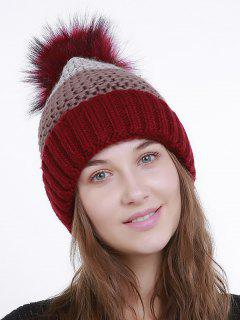 Outdoor Crochet Flanging Pom Knit Beanie - Red