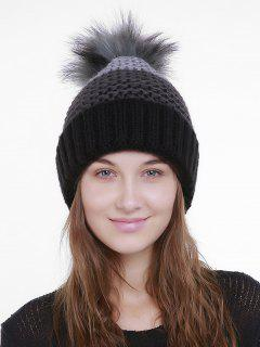 Outdoor Crochet Flanging Pom Knit Beanie - Black And Gray