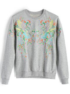 Loose Bird Embroidered Sweatshirt - Gray M