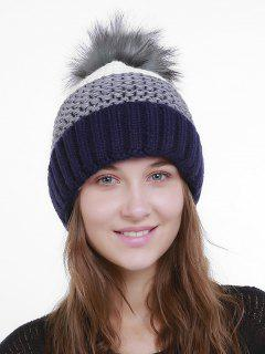Outdoor Crochet Flanging Pom Knit Beanie - Gray