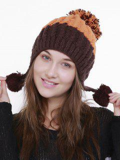 Color Block Knit Pom Pom Hat - Orange Brown