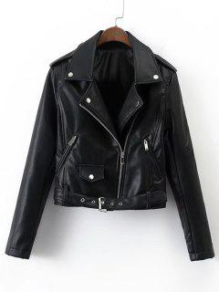 Belted Cropped Zip Up  Biker Jacket - Black L