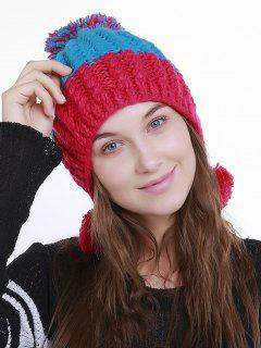 Color Block Knit Pom Pom Hat - Red Blue