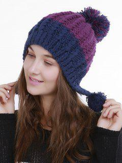Color Block Knit Pom Pom Hat - Blue Purple
