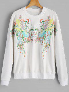 Loose Bird Embroidered Sweatshirt - White S