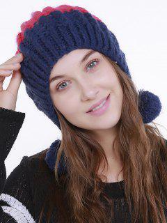 Color Block Knit Pom Pom Hat - Rose Red + Blue