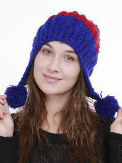Color Block Knit Pom Pom Hat - Azure