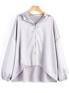 Oversized Shiny Hooded Jacket - Silver L