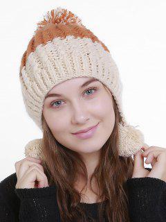Color Block Knit Pom Pom Hat - Beige