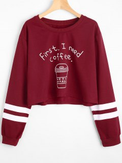Drop Shoulder Letter Striped Sweatshirt - Deep Red M