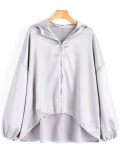 Oversized Shiny Hooded Jacket - Silver M