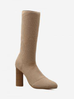 Ankle Chunky Heel Short Boots - Apricot 34