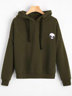 Drop Shoulder Patched Drawstring Hoodie - Army Green