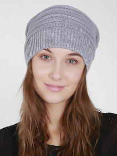Mixcolor Knit Beanie Hat - Light Gray