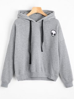 Drop Shoulder Patched Drawstring Hoodie - Gray